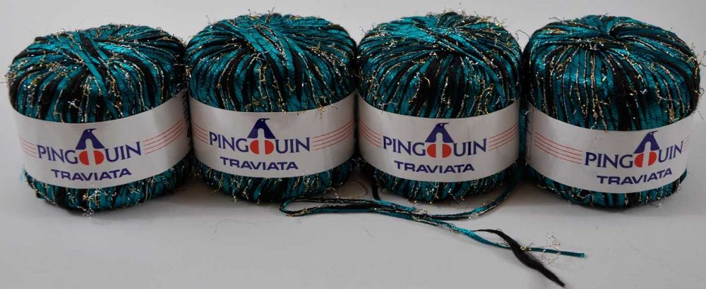 4 X 40g Turquoise and black pinguin facy tape with silver lurex eyelash yarn
